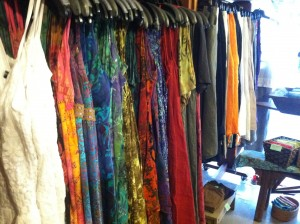 Natural fiber clothing at One World Trading Co, Oak Bluffs Martha's Vineyard