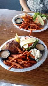 Crab cake sandwich and BBQ burger at Fishbones